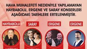 Tekirdağ Büyükşehir Belediyesi'nden Ertelenen Konserler Hakkında Duyuru