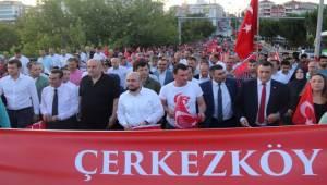 Çerkezköy'de 15 Temmuz Şehitleri Anma, Demokrasi ve Milli Birlik Günü Etkinliği Düzenlendi
