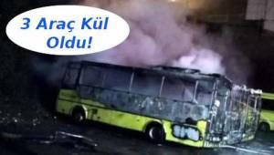 Tekirdağ Süleymanpaşa'da 3 Halk Otobüsü Cayır Cayır Yandı | Tekirdağ Haber Gazetesi