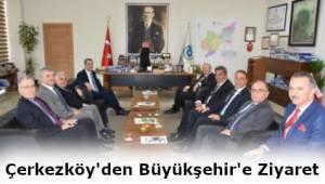 Büyükşehir Belediyesi'ni Çerkezköy Kaymakamı ve Çerkezköy İlçe Milli Eğitim Müdürü Ziyaret Etti