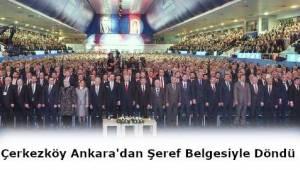 Çerkezköy TSO Ankara'dan Şeref Belgeleriyle Geri Dönüyor