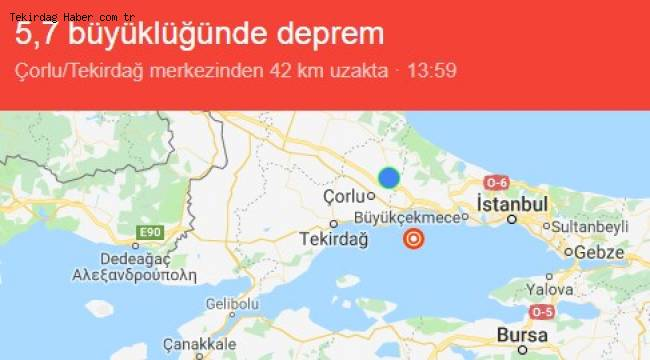 Tekirdağ Depremi Son Dakika Haberi! Tekirdağ Depreminin Şiddeti ve Deprem Detayları