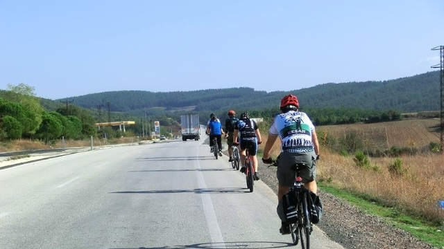 Biskletçiler Tekirdağ Ganos Dağları'nda pedal çevirdiler.
