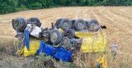 40 Ton Kömür Tozuyla Yüklü Tır Şarampole Devrildi: 1 Yaralı